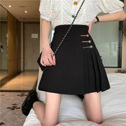 レトロ黒 プリーツスカート 女 春 新しいデザイン ハイウエスト 着やせ 気質 ファッシ