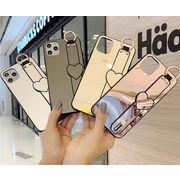 iPhone12ProMAXケース 背面ミラー ハートベルト 鏡面加工iPhoneケース 化粧