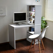 パソコンデスク L字型 本棚付き 学習机 書斎机 ホワイト