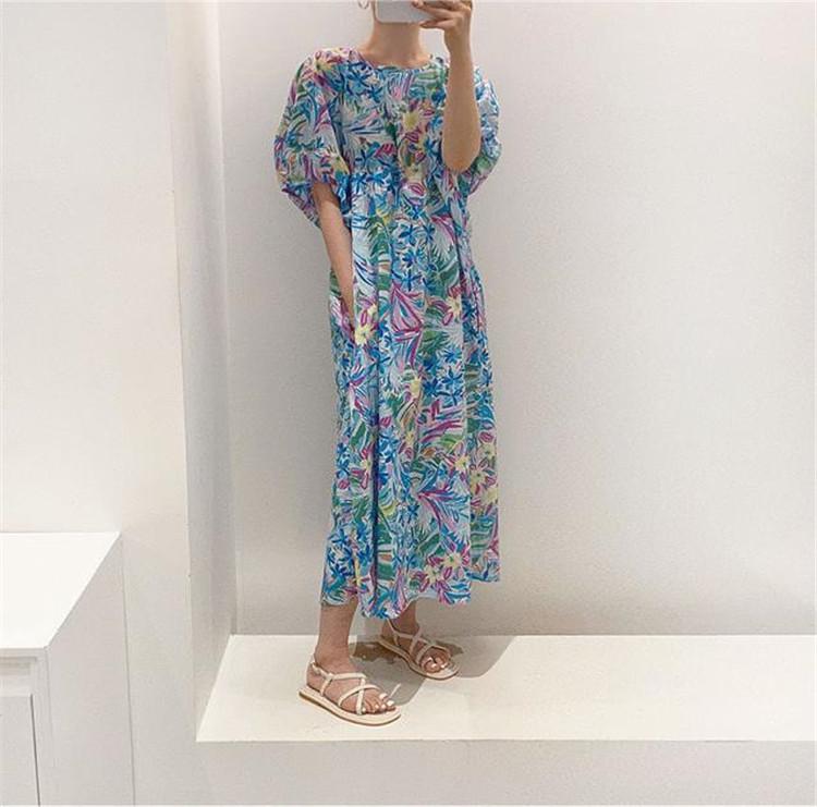 これからの季節はシャツの出番 韓国ファッション 油絵 ワンビース 半袖 ゆったりする 大きい裾 百掛け