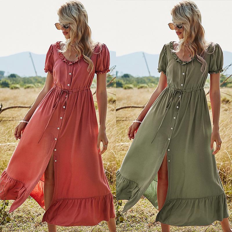 u18020 レディース マキシ ワンピース ドレス ロングスカート 大きいサイズ 切り替え  欧米デザイン