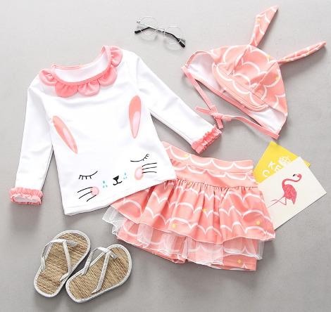 水着 キッズ 子ども 女の子 セパレート 日焼け止め ウサギ アニメ かわいい おしゃれ 人気