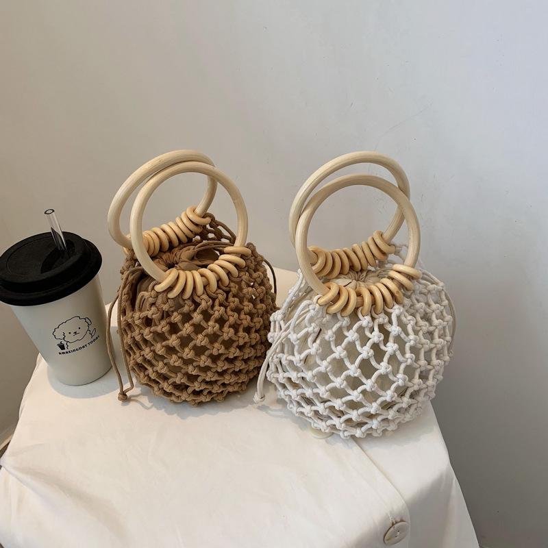 草編みビーチトートバッグ  ハンドバッグ カゴバッグ 旅行用品
