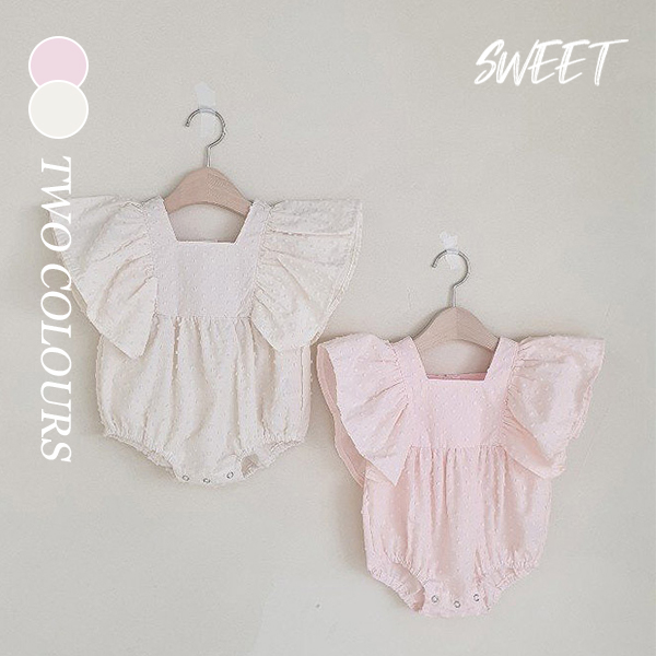【KID】2021年春夏新作 韓国風子供服 ベビー服 フリル袖ロンパース プリンセス風 可愛い 夏服