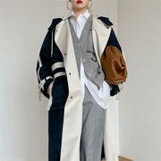 さり気なく旬を取り入れる 韓国ファッション カラーマッチング 長袖 腰を括る ハイエンド トレンチコート