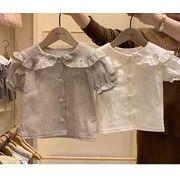 人気 新品★アパレル★女の子キッズ服★子供服★赤ちゃん着半袖tシャツ★チェック柄ブラウス