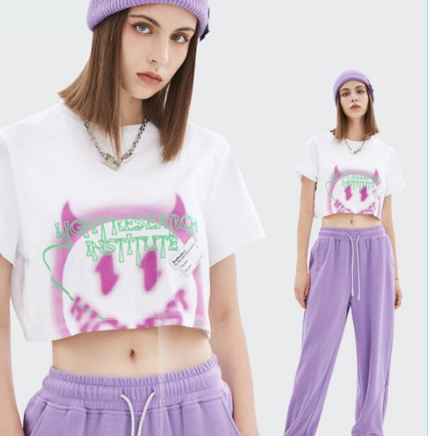 u18125 hiphop  ダンス トップス  バーカー  オーバー  Tシャツ 春夏新作 レディース
