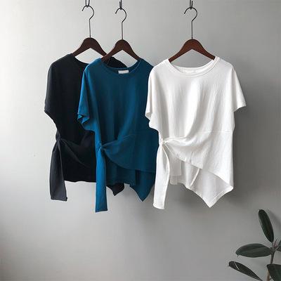 2021年夏新作 韓国風 レディース tシャツ 無地 デザインあり 半袖  レジャー 3色フリー