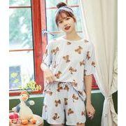韓国風  パジャマ  半袖  漫画  かわいい  くまちゃん  ゆったり  レジャー  セット