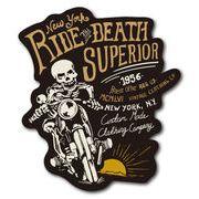 バイカーステッカー BIKER STICKER バイク ハーレー ヘルメット スカル RIDE DEATH 骸骨 ドクロ BK013