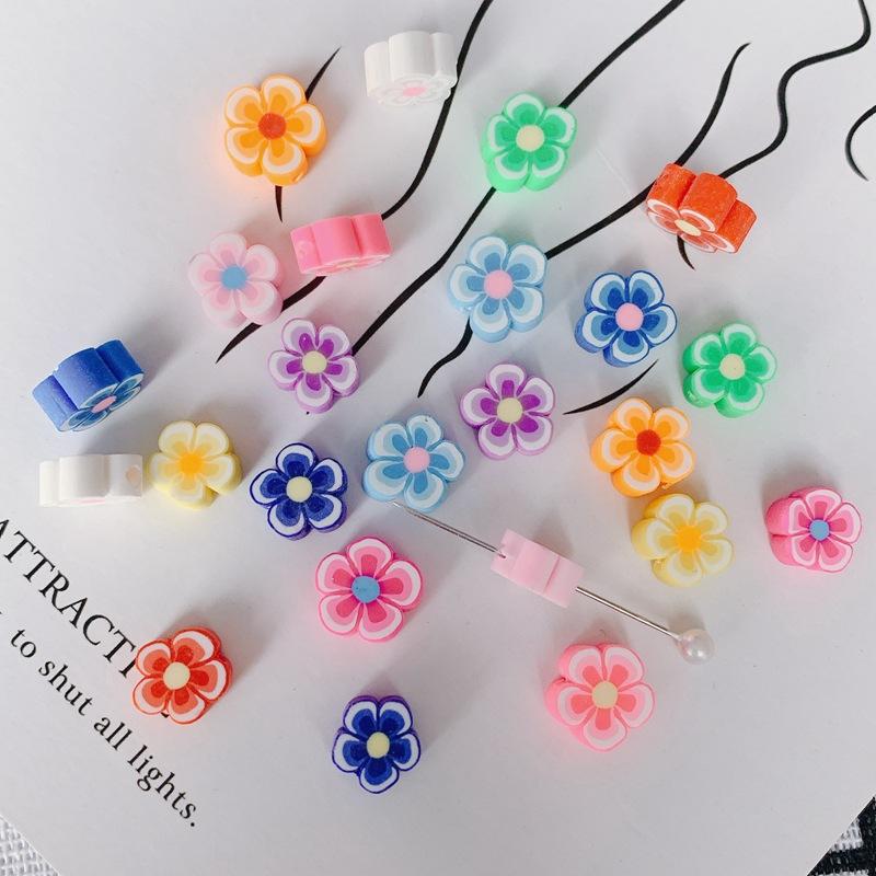 ソフトクレイ小花 樹脂粘土製 さわやかカラーのクレイフラワー 花 アクセサリーパーツ 材料 ミックス