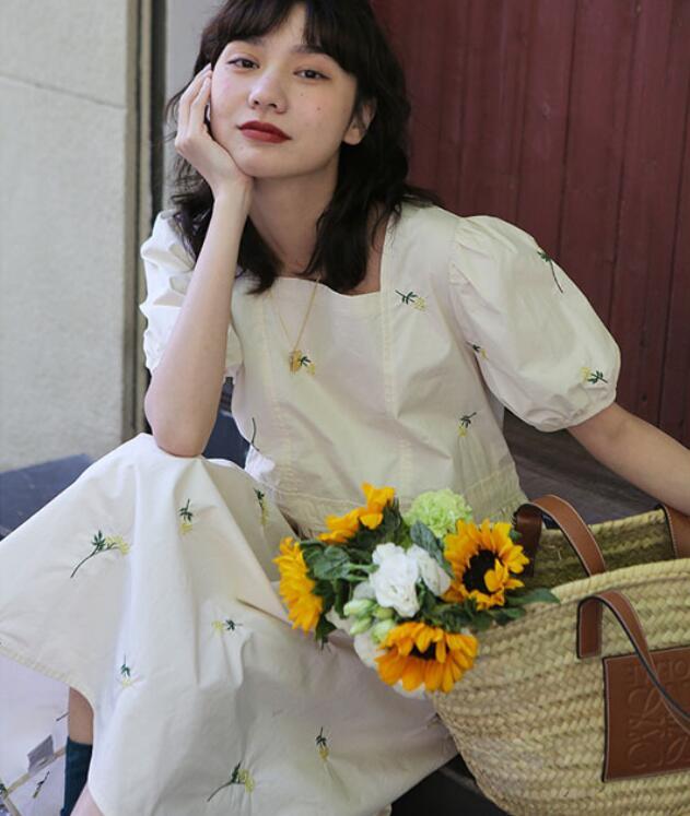 2021年春夏新作 レディース 韓国風 ワンピース 刺繍 花柄 通勤 気質 ファッション S-M