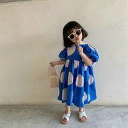 キッズ春夏 3-8歳女の子 ゆったりワンピ  ドット柄 シフトドレス ワンピース パフ・スリーブ 子供服 7-15