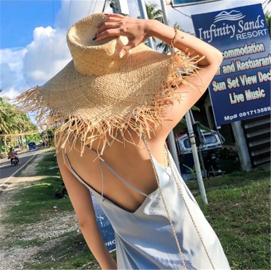 超人気レディースストローハット 麦わら帽子 日焼け止めカット紫外線対策小顔効果