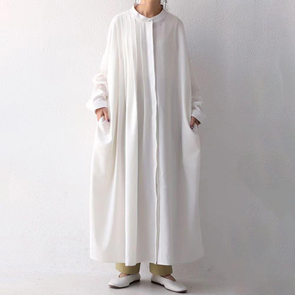 2021新作 ワンピース ロング オールインワン シャツ フレア ふんわり オーバーサイズ シフォン 韓国風