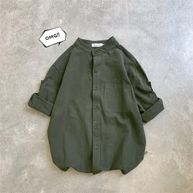 海外セレブ人気商品 おしゃれ リネン 七分袖 シャツ ラペルトレンド ゆったりする 百掛け 学生 コート
