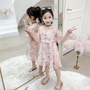 子供服 ワンピース 春夏 女の子 キッズワンピース 半袖 シフォンワンピース 花柄 チュニック