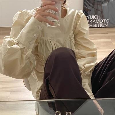 2021年春夏新作 レディース 韓国風 シャツ 長袖 パフスリーブ おしゃれ 通勤 気質 2色S-M