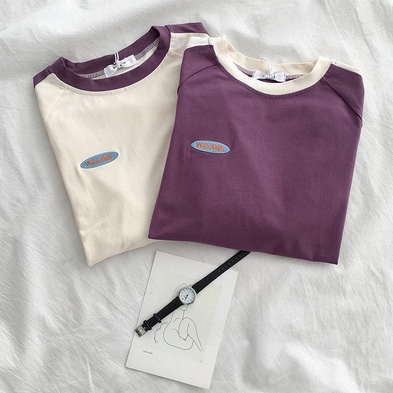 【2021トレンド】韓国 韓国ファッション カジュアル Tシャツ 半袖 リンガートップス
