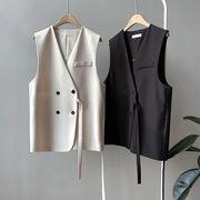 ベスト レディース韓国風 女の子コートおしゃれ 袖なしバックスプリット ベスト カーディガン