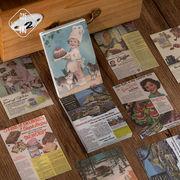 塩系文具 シール貼紙 手帳素材 封口貼 アンティーク 自然植物花葉キノコ 蝶々 油絵 ポスター 30枚入