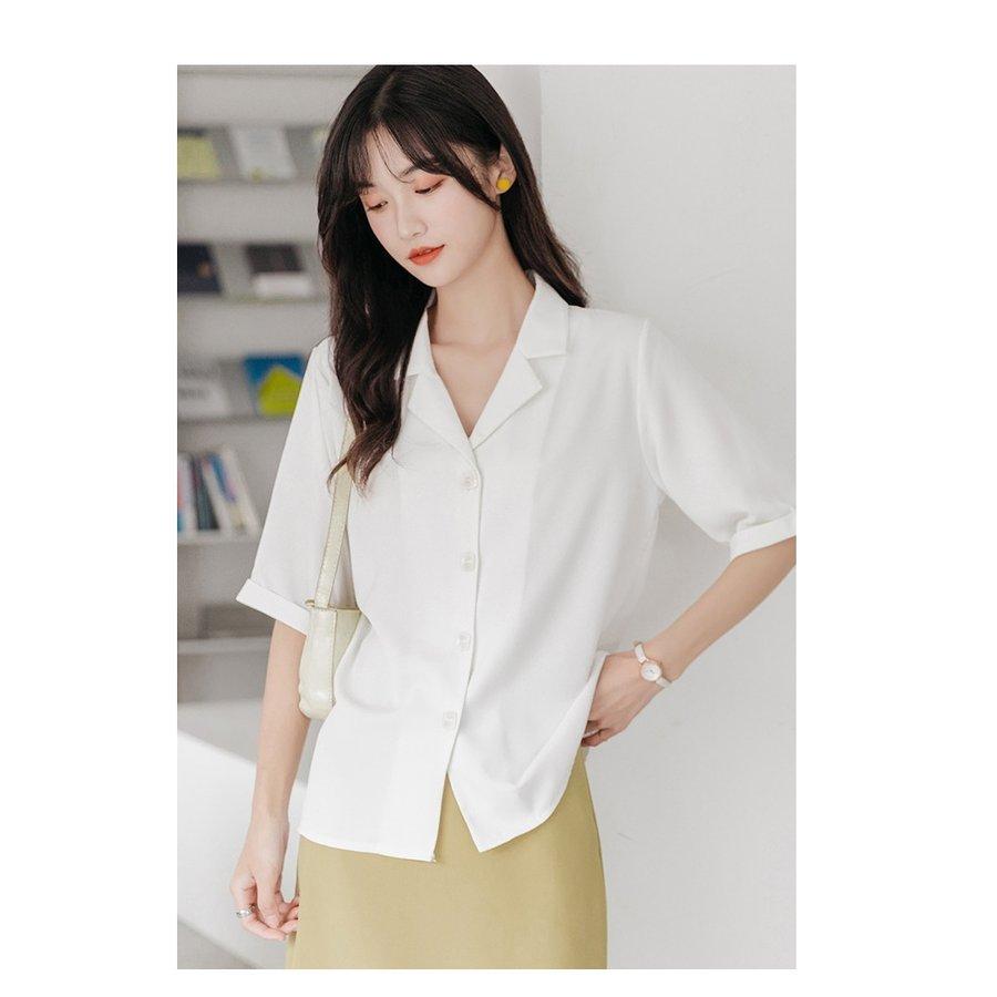 ブラウス レディース 夏 シャツブラウス オフィス 半袖 無地 夏 韓国風 シフォン 折襟