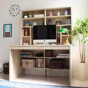 パソコンデスク 上下書棚付き 115cm幅 オーク 上下一体型
