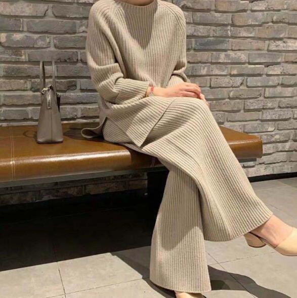 秋 新作 レディース ニットセット 無地 セーター+ワイドパンツ 4色