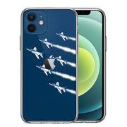 iPhone12 側面ソフト 背面ハード ハイブリッド クリア ケース シェル ブルーインパルス 6機編隊