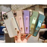 便利なベルト付きのiPhone13 ケース★iphone 12 pro カバー メッキ加工 iPhone12 mini ケース