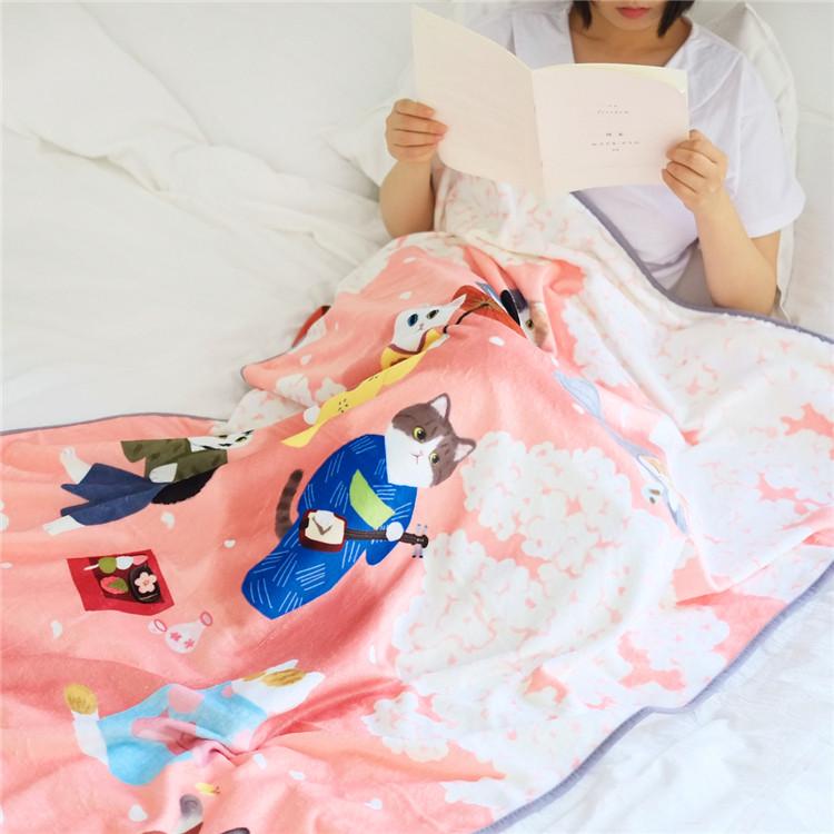 人気商品 MEWJIオリジナル 柔らか肌触り  フランネル毛布<猫、ネコ、ねこ>