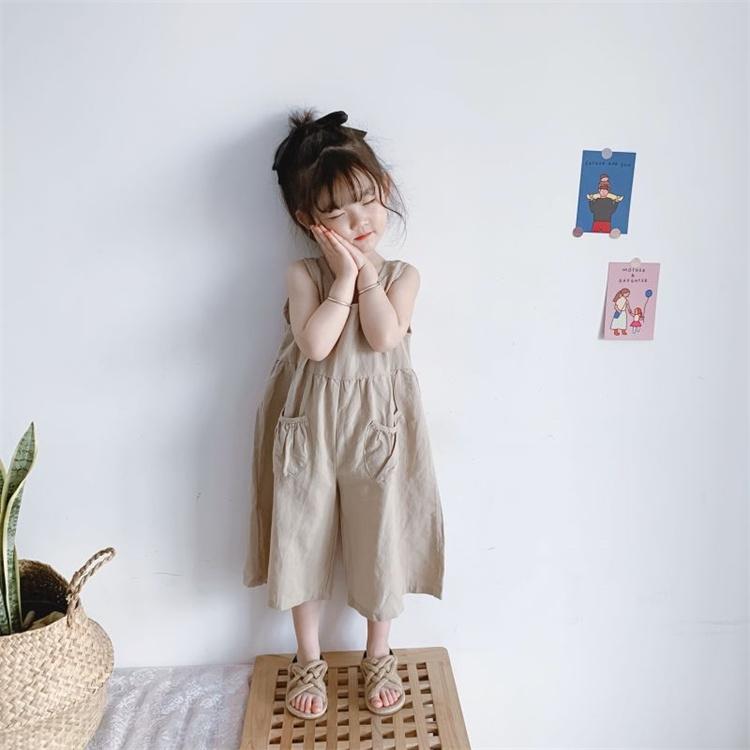可愛い感じで気に入りました 激安セール オールインワン 可愛い ワイドパンツ 袖なし 子供 カジュアル