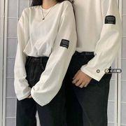 恋人服装 長袖Tシャツ 女 薄いスタイル アーリー 秋 新しいデザイン 韓国風 松 Tシ