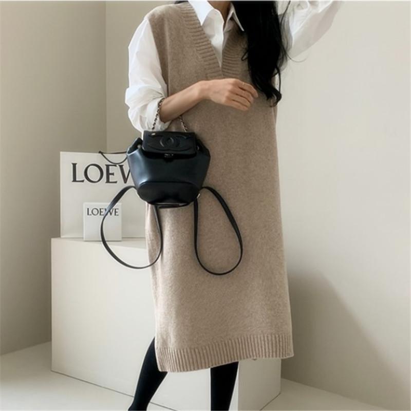【Women】2021年春夏新作 韓国風レディース服 ミドル丈セーター ベストスカート ネックセーター