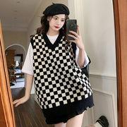 格子編み ベスト 女性服 春秋 日系 アウター キャミソール セーター ベスト ベスト