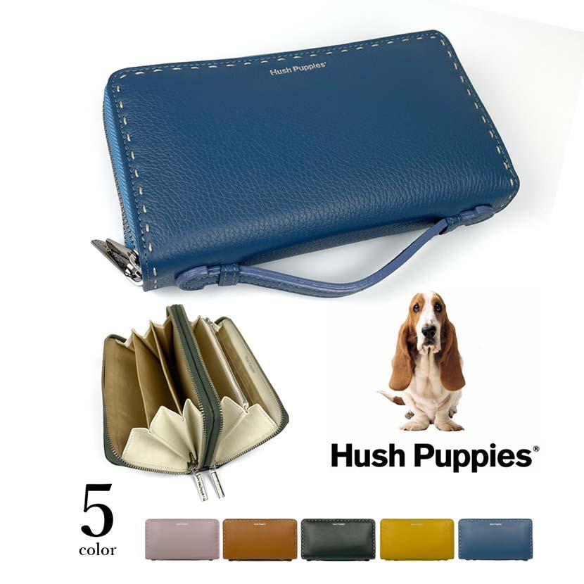 全5色 Hush Puppies ハッシュパピー リアルレザー ステッチデザイン ダブルファスナー 長財布