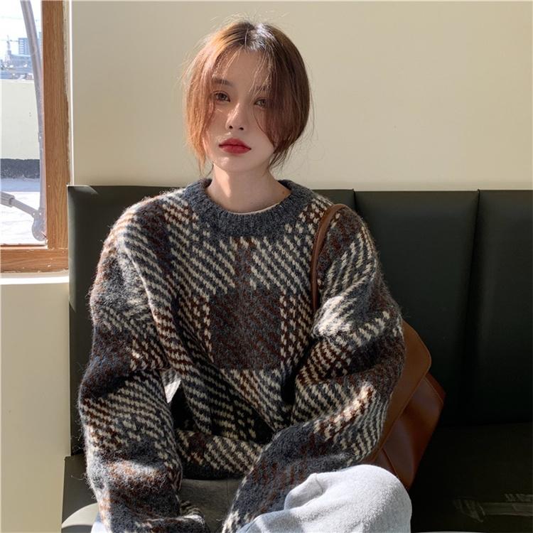 大人の魅力高まる 秋冬物 2021 新品 レトロ チェック柄 カラーマッチング 厚手 ゆったりする 長袖 セーター