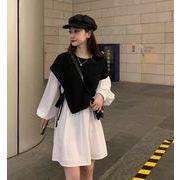 2021春秋新作 女 レディース ハイウエスト 長袖 ミニ ワンピース  M-3XL