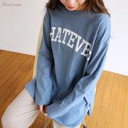 【Y-5】コットン天竺 WHATEVER カレッジロゴプリント 長袖Tシャツ