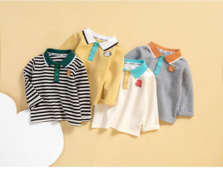 【KID】韓国風子供服 ベビー服  男女兼用 ポロネック 長袖 トップス Tシャツ