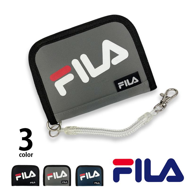 全3色 FILA(フィラ) ナイロン ラウンドファスナー ロゴ デザイン 二つ折り 財布