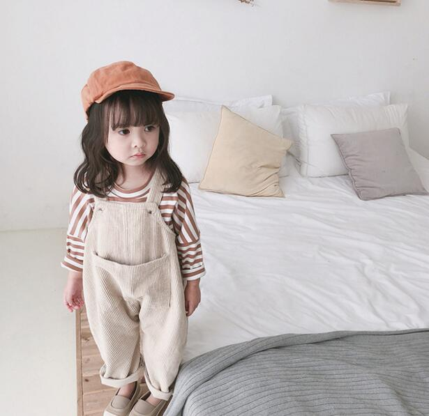 【厚手タイプ増加】オーバーオール 80-120# サロペット コーデュロイ キッズパンツ ズボン