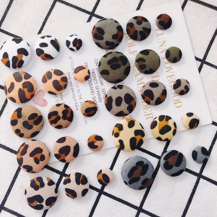 包みボタン 貼り付けパーツ ヒョウ柄カボション 丸 くるみボタン 豹柄 レオパード アクセサリーパーツ