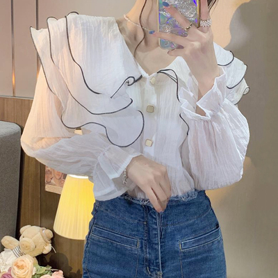 白い人形の襟 シャツ 女性服 春秋 設計感 シャツ 新しいデザイン フランス語 長袖シャ