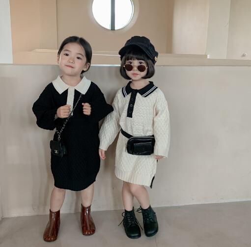 子供服 ワンピース キッズ 子ども 秋 ロング型 シンプル かわいい トレンド 人気