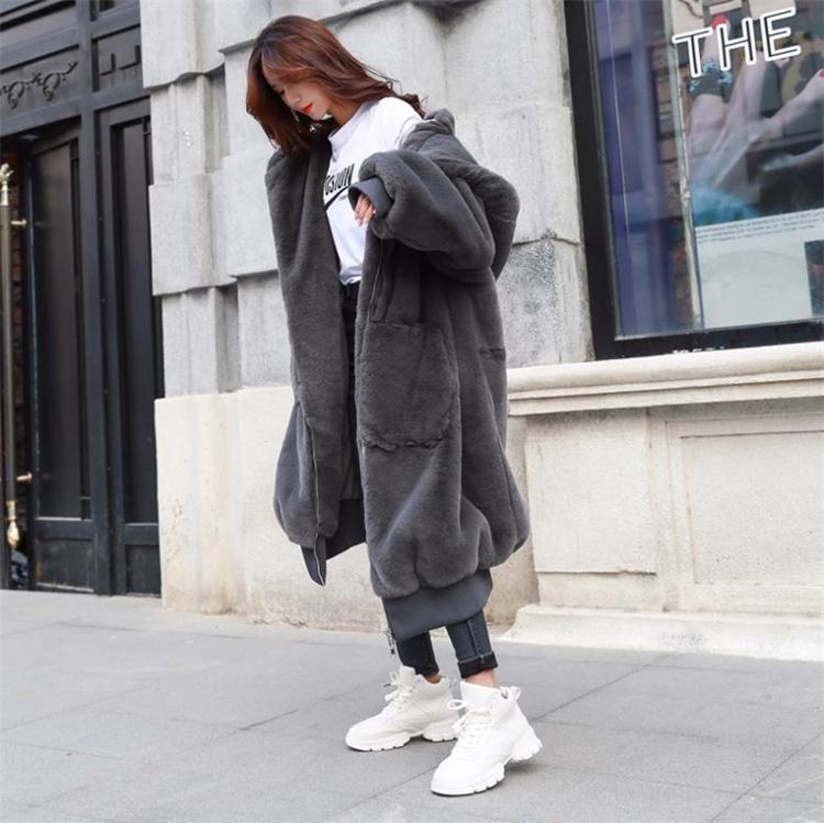 選べる7色  秋冬物 2021 新品 模造カワウソウサギの毛皮 厚手 ロング フード付き コート ファーコート