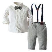 韓国スタイル 赤ちゃん 秋冬 スーツ 子供服 長袖 シャツ サスペンダー ズボン 2点セット 男の子