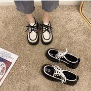 トレンド感をマーク!女の子ファッション レトロ  新しい マフィン 厚底 滑り止め トレンド 日本 小革靴
