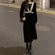 秋冬 ワンピース 個 息子 新しいデザイン ゴールドのベルベット スカート 女 フランス