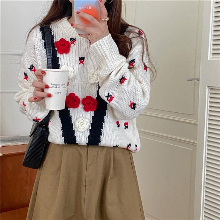 早い者勝ち 2021 秋冬 フレンチスタイル sweet系 織ります 立体花柄 セーター 減齢 おしゃれな